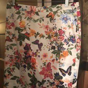Loft butterfly pencil skirt